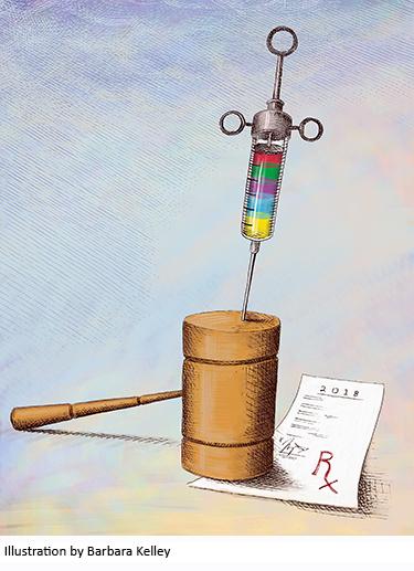 Illustration of needle injecting gavel