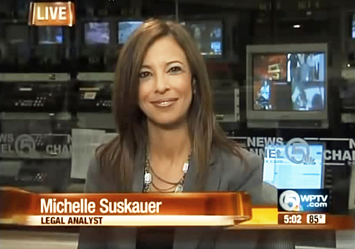 """Photo of Michelle Suskauer on news program. Suskauer has appeared as a legal analyst since 2004 on her local NBC and FOX affiliates, and progressed thereafter onto MSNBC, CNN, and other national programs. """"I get to talk about important cases around the country, helping break them down so that the average person can really understand what is going on in both the criminal and the civil justice system. And I really do love it,"""" she said."""
