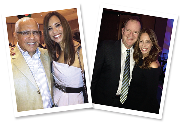 Left: Pictured with father Alan Rosenkranz, who passed away in 2013 after an 11-year battle with cancer. Right: Pictured with her husband of 25 years, 15th Circuit Judge Scott Suskauer. They were law partners for 18 years in West Palm Beach at The Suskauer Law Firm.
