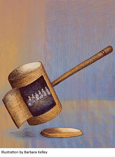 Illustration of jurors inside gavel//Illustration by Barbara Kelley