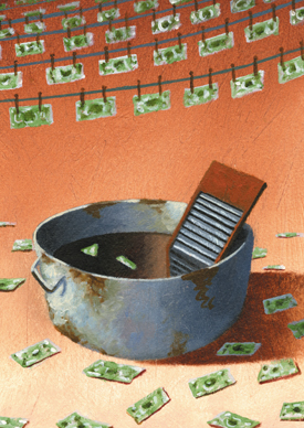 Washboard with cash in dirty water
