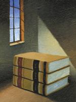Illustration of books in light