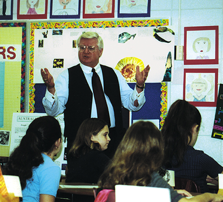 To the amazement of fifth grade teacher Ginny Webb, at Tallahassee's Gilchrist Elementary School in 2000, Justice Lewis captivated his young audience for two hours without a break on a lively lesson about the Bill of Rights. Afterward, Lewis stooped low at each desk and shook each little hand goodbye.