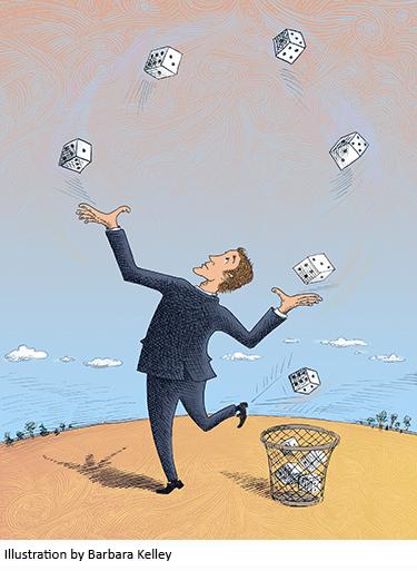 Illustration of man juggling dice by Barbara Kelley