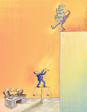 Illustration of woman carrying boxes unknowingly walking off edge//Illustration by Barbara Kelley