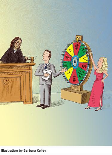 Illustration of gambling wheel in courtroom by Barbara Kelley