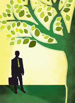Illustration of man and green tree