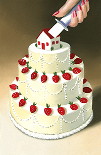 Illustration of knife slicing wedding cake by Joe McFadden