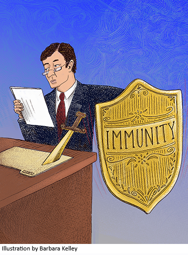 Illustration of man holding shield of immunity by Barbara Kelley
