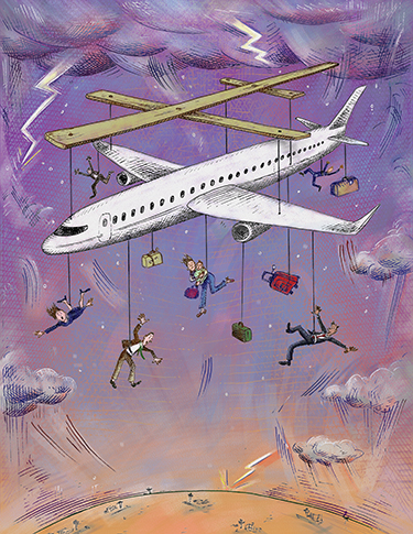 Illustration of puppet airplane by Barbara Kelley