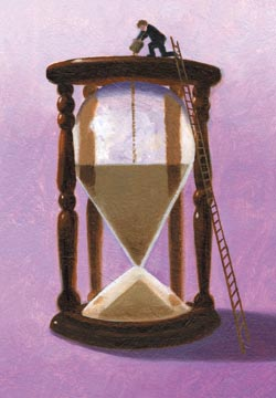 Illustration of hour glass by Joe Mcfadden