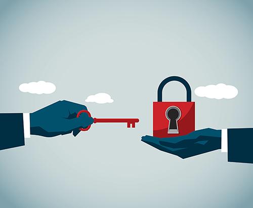 Illustration of key moving toward lock