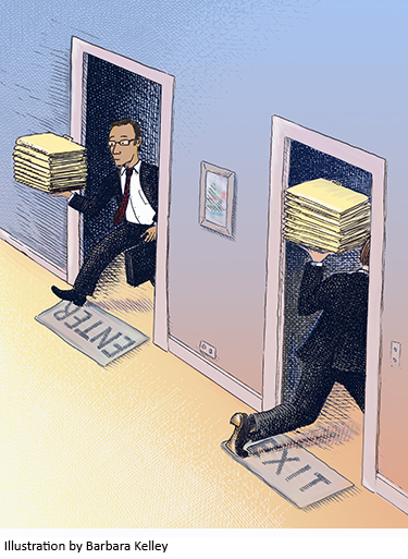 Illustration of attorneys going in and out of doors by Barbara Kelley