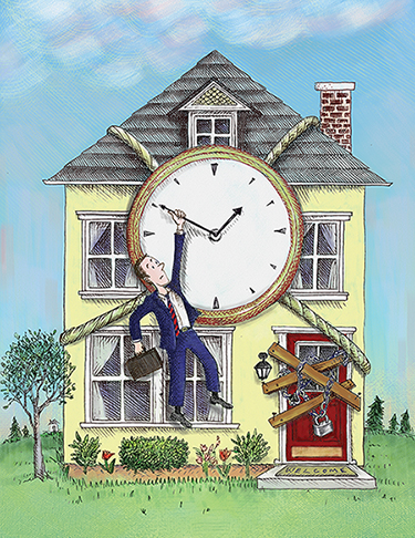 Illustration of man hanging from the hands on a clock mounted on a house. Illustration by Barbara Kelley