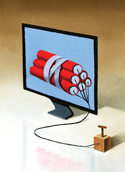 Illustration of computer with dynamite