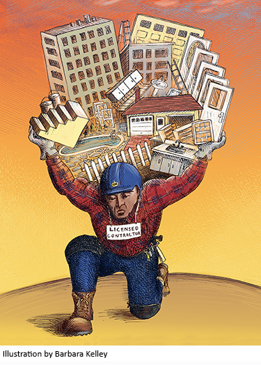Illustration of contractor holding up various buildings//Illustration by Barbara Kelley
