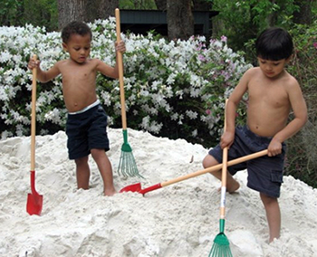 Each spring, Deborah Polston has 16 tons of sand delivered to the family's Tallahassee home, where the younger boys can spend days with the beach as their backyard.