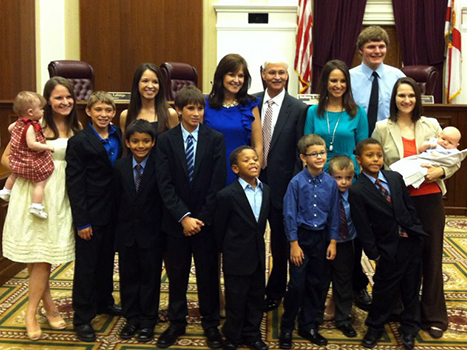 The entire Polston family gathered at Polston's investiture ceremony at the Florida Supreme Court in July. Chief Justice Polston and his wife Deborah have four biological daughters — Diana, Michelle, Cheryl Victoria, and Rachel — and six adopted sons, Jacob, Josiah, Joseph, Joel, Jeremiah, and Jonathan. The Polstons also have four grandchildren to add to the mix.