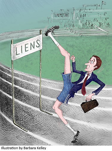 Illustration by Barbara Kelley/Illustration of man and hurdle